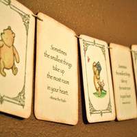 Vintage Baby Shower Banner - Winnie the Pooh  - Gender Neutral -  Nursery Decor - Ivory Green - Vintage Baby shower - Sometimes the smallest