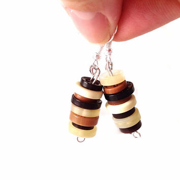 Brown button dangle earrings custom made wedding gift woman party