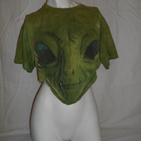 Happy Halloween SALE retro  ALIEN  cut off reworked women's  half cropped tank shirt    green