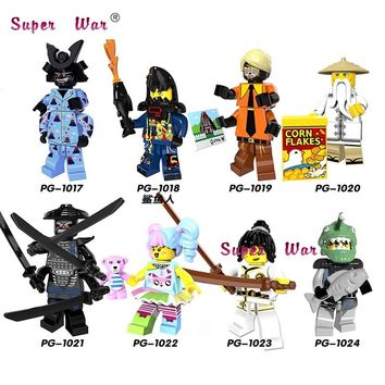 Single New Ninja movie Nya Sensei Wu Flashback Garmadon N-POP Girl Shark Army Angler building blocks bricks toys for children