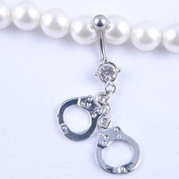 ac PEAPO2Q Dangle Belly Button Rings Shiny Rhinestone Navel Bar Body Piercing Jewelry New Arrival