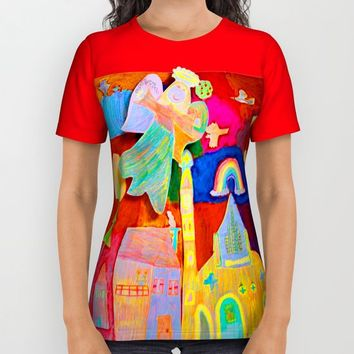 Rainbow Angel All Over Print Shirt by Azima