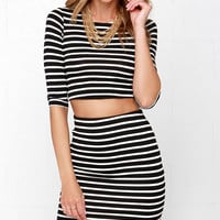 Simple Request Ivory and Black Striped Two-Piece Dress