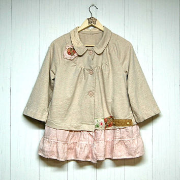 M/L Mori Girl Jacket, Shabby Chic Jacket, Ecru, Buff Pink, Boho Chic Jacket, Upcycled Clothing, Anthropologie Inspired