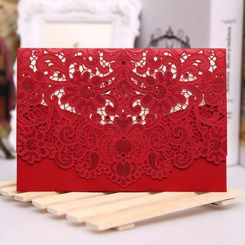 Red White Gold Laser Cut Wedding Invitation Card Luxurious Elegant Pocket Folded Wedding Invitations 100pcs