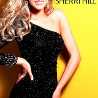 Short One Long Sleeve Sequin Dress by Sherri Hill