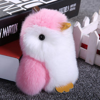 Cute Mini Pompon Penguin Keychain Trinket Pom Pom Rabbit Fur Doll Women Bag Key Chain Car Keyring Chaveiro Jewelry New Year Gift