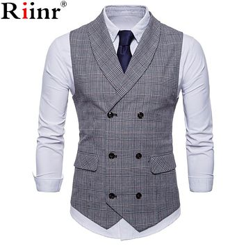 Suit Vest Men Jacket Sleeveless Beige Gray Brown Vintage Tweed Vest Fashion Spring Autumn Waistcoat