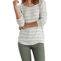 Ivory Combo Long Sleeve Striped Tunic Tee by Charlotte Russe