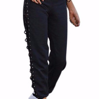 Lace Up Side Cutout Athletic Pants