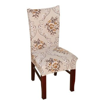 Polyester Spandex Chair Covers Printed Elastic Dining Chair Covers For Wedding Party Dining Chair Seat Covers HGTXTBCR029