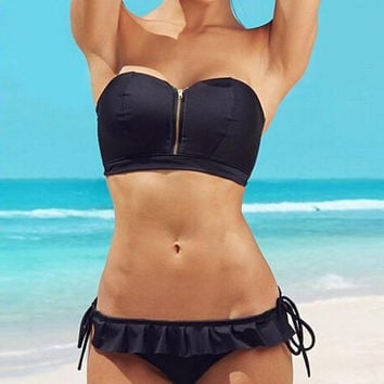 Summer Swimsuit Hot Beach New Arrival Wrap Zippers Sexy Ladies Lace Swimwear Bikini [4914740996]