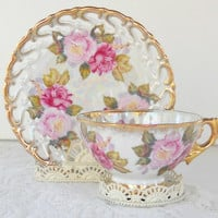 Royal Sealy Iridescent Footed Lusterware Tea Cup Set, Victorian, Ornate, Romantic Cottage Chic, Wedding, Collectible Tea Cup Set