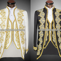 Vogue Palace style Gold embroidery men Tuxedos Classic Groomsmen Men Wedding Suit(Jacket+Pants+vest) white black actual pictures