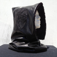 Black Faux Leather Faux Fur Elven Hood