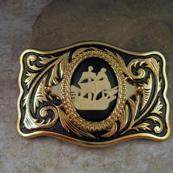 Antique Gold Steampunk Pirate Ship Cameo Belt Buckle
