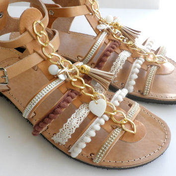 Boho chic leather sandals, Decorated sandals, Hippie gladiator sandals, Spartan sandals,Bohemian leather sandals, Women summer shoes