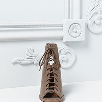Taupe Suedette Lace Up Laser Cut Heels