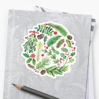 'Lovely Christmas Greenery' Sticker by noondaydesign