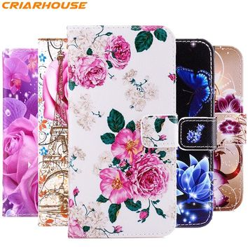 For apple iphone 8 5 5S SE 6 6S 7 PLUS phone case flower Pattern cartoon Painted back cover pu leather flip stand wallte style