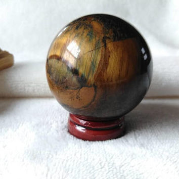 Tigers Eye Crystal Sphere - Tigers Eye Crystal - Scrying - Divination Tools - Feng Shui - Reiki - Crystal Ball - Blue & Gold - Healing Stone