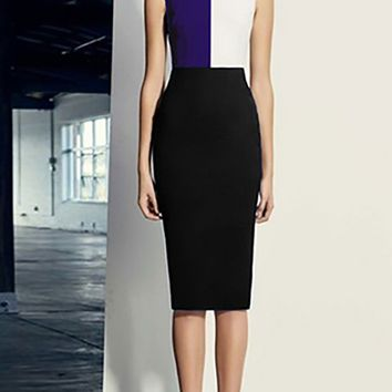 Split Decision Black White Blue Sleeveless Colorblock Crew Neck Bodycon Bandage Midi Dress
