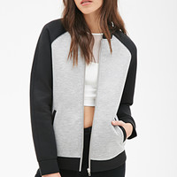 FOREVER 21 Scuba Knit Varsity Jacket Heather Grey/Black