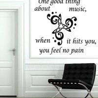 Wall Decals Quote One Good Thing About Music Decal Treble Clef Vinyl Sticker Home Art Art Mural Bedroom Home Decor Ms251