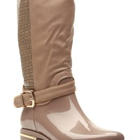 Taupe Faux Patent Gold Accent Calf Length Rain Boots @ Cicihot Boots Catalog:women's winter boots,leather thigh high boots,black platform knee high boots,over the knee boots,Go Go boots,cowgirl boots,gladiator boots,womens dress boots,skirt boots.