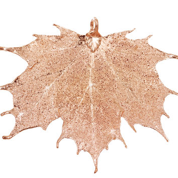 Real Leaf PENDANT Sugar Maple in Rose Gold Genuine Leaf