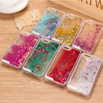 New Hot 8 Colors Fun Glitter Star Dynamic Liquid Back Case cover for iphone 5C transparent clear cell phone back housing