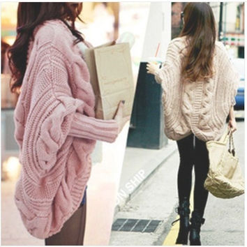 Women Bat wing Jumper Cape Ponchos Oversize Knitwear