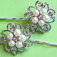 Wedding Hair pins, Bridal  Accessories, Pearl Hair Pins, Pearl and Crystal, Bridesmaid Hair accessories, Pearl Blossom Collection