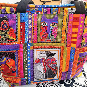 Laurel Burch Tote Bag -  Laurel Burch Felines Bag  - Tote Bag - Laurel Burch Print - Handbag Tote Bag - Market Tote Bag - Overnight Bag