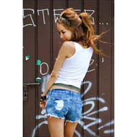 Summer Women Fashion Hollow Out Shorts Denim Shorts Jeans Hole Sexy Low Waist Ladies Shorts