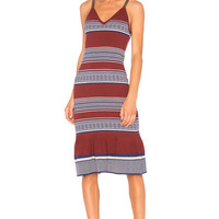 ANIMALE Fitted Midi Dress in Burgundy Stripe | REVOLVE