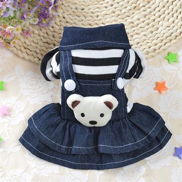 New Striped Denim Dog Clothes Cute Dog Coat Jacket for Small Medium Dogs Pet Clothing Yorkies Chihuahua Teddy Jumpsuit Clothes