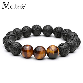 Mcllroy Bracelet Tiger Eye Natural Stone Beads Bracelet Buddha Charm Bracelets & Bangle Mew Men Lava Stone Stainless Steel