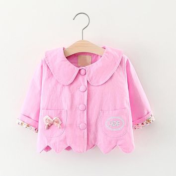 2018 Chinese Style Girls Promotion New Autumn Chinese Style Jersey Full Solid Korean Coat Cotton Sleeve Jacket Kids Outerwear