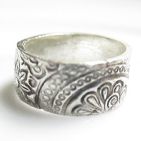 Silver Ring, Fine Silver Ring, Floral Ring, Paisley Ring, Ring Band, Flower Ring, Silver Ring Band, Fine Silver Jewelry, Handmade Ring