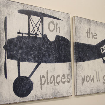 Vintage Airplane Nursery Decor Wood Sign Boys Nursery Oh The Places You'll Go Navy And Gray Nursery Baby Gift Distressed Wood Handmade