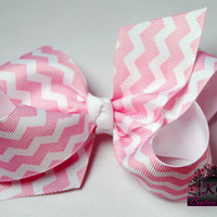 Chevron Hair Bow Boutique Bow Pink