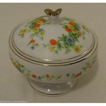 Lefton China Handpainted Candle Holder Dish with Lid