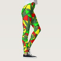 Reggae rasta Jamaica flag colors ganja weed smoke Leggings