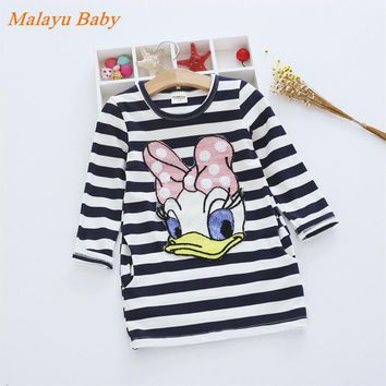 Malayu baby brand new autumn 2016 girl clothes striped embroidered Donald Duck cute cartoon pattern dress cotton