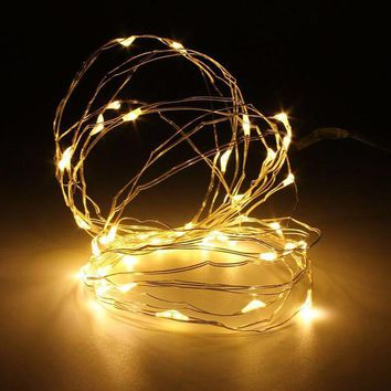 LMF4AX Mising 5M 50 LED String Light Christmas Copper Wire LED String Fairy Light AAA Battery Operated Party Wedding Decor