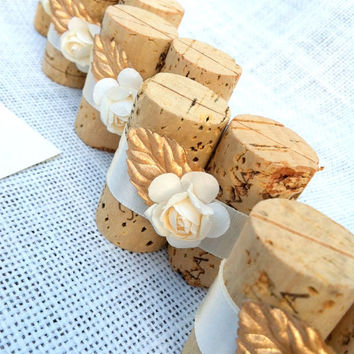 Gold & Ivory Place Card Holders for Wedding Reception or Bridal Showers, Set of 10, Vineyard Winery Spring Ivory Gold Weddings Bridal Shower