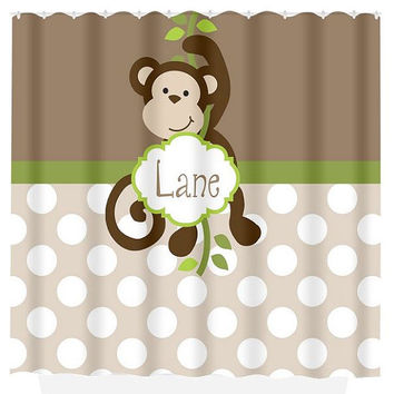 Monkey SHOWER CURTAIN Custom MONOGRAM Personalized Boy Bathroom Decor Bath  Beach Towel Plush Bath Mat Choose