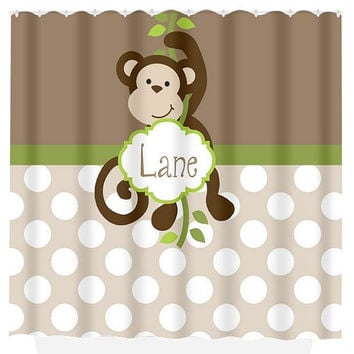 Monkey SHOWER CURTAIN Custom MONOGRAM Personalized Boy Bathroom Decor Bath Beach Towel Plush Bath Mat Choose Your Colors Boy Bathroom Monkey