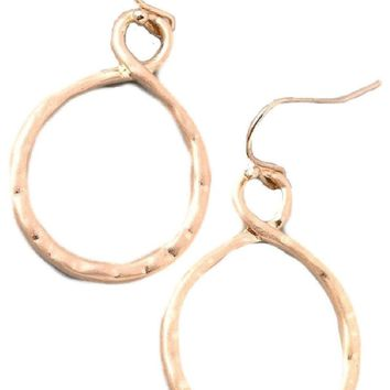 Textured Hoop ER, Matte Gold
